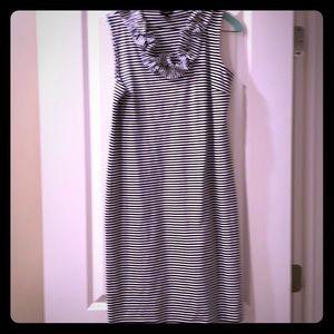Talbots Ruffle V-neck striped dress, navy/white